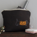 Darling Dachshund Makeup Bag - chocolate