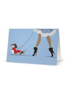 Walking dachshund card