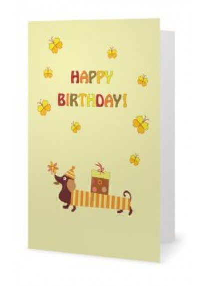 Birthday card yellow