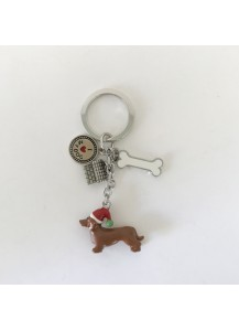 Dachshund Christmas keyring decoration
