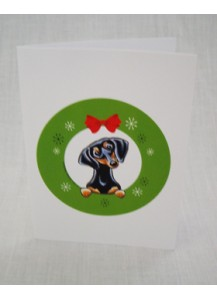 Christmas card smooth black and tan in wreath
