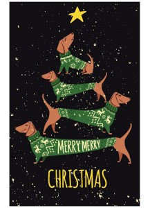 Christmas Card Dachshunds in jumpers