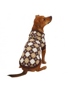 East Side Collection Hooded Argyle Sweater - Brown