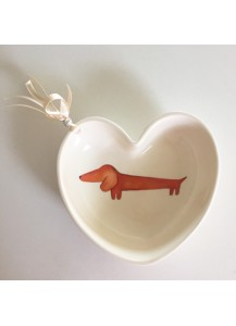 Dachshund heart shaped bowl