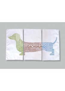 Dachshund Typography Tea Towel