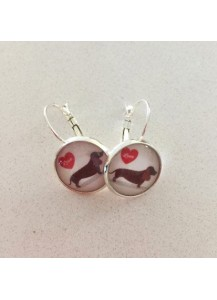 Dachshund love earrings