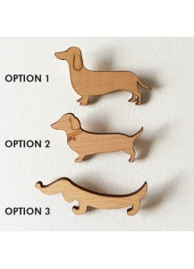 Dachshund beech wood brooches